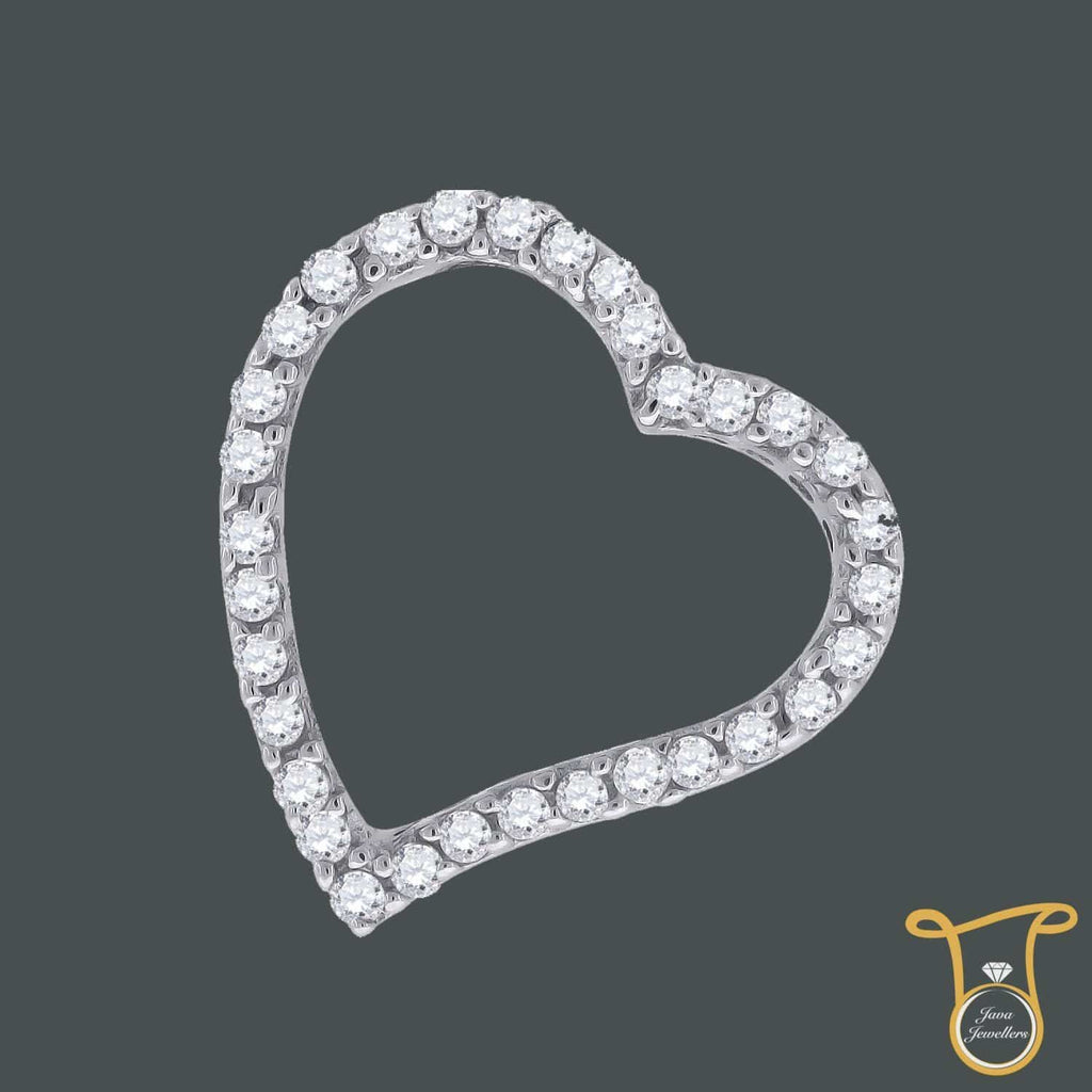 Womens Round Sterling Silver Cubic Zirconia CZ Heart Fashion Pendant