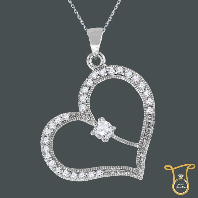 CZ Heart Sterling Silver Womens Round Cubic Zirconia Fashion Pendant, Pendants, JJ-SLV, Jawa Jewelers