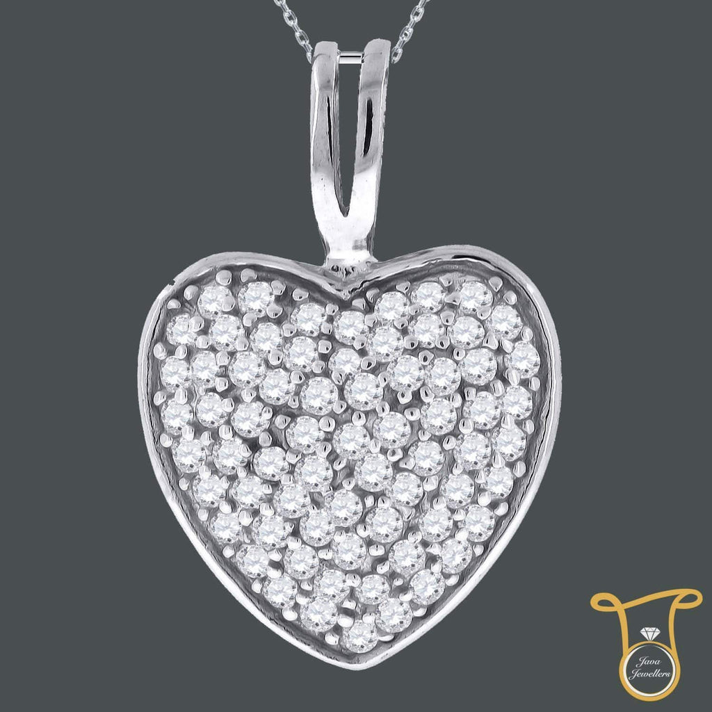 Sterling Silver CZ Heart Fashion Womens Round Cubic Zirconia Pendant