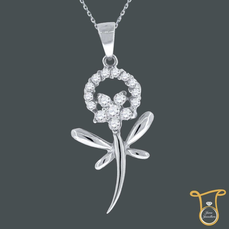 Sterling Silver Round Cubic Zirconia CZ Flower Dragonfly Fashion Pendant, Pendants, Silverine, Jawa Jewelers