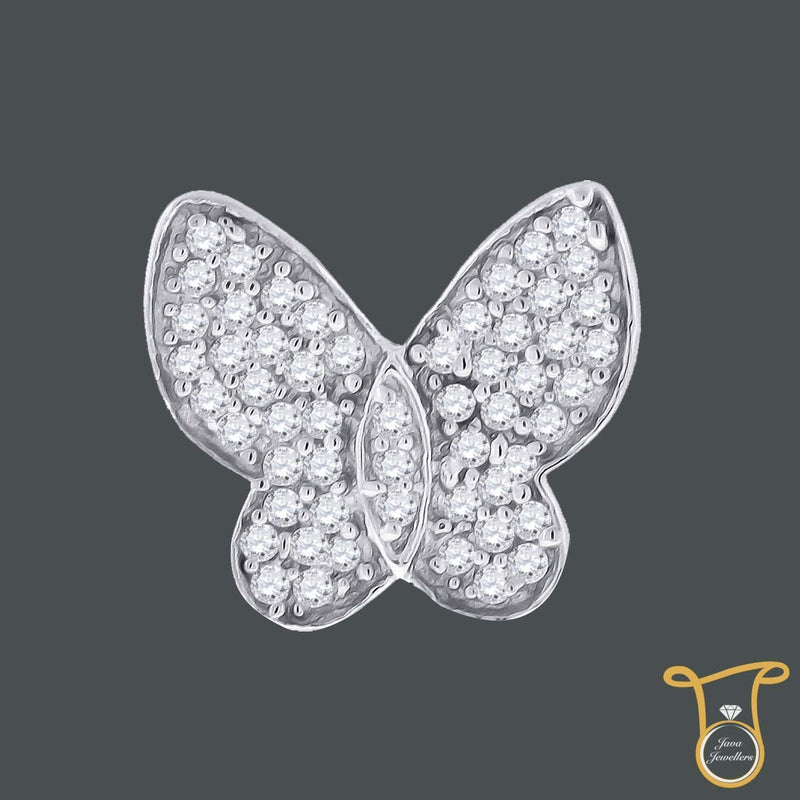 Sterling Silver Round Cubic Zirconia CZ Womens Butterfly Fashion Pendant