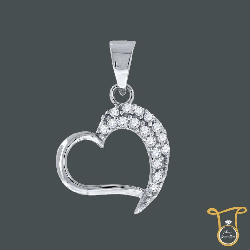 Sterling Silver Round Cubic Zirconia CZ Womens Heart Fashion Pendant, Pendants, Silverine, Jawa Jewelers