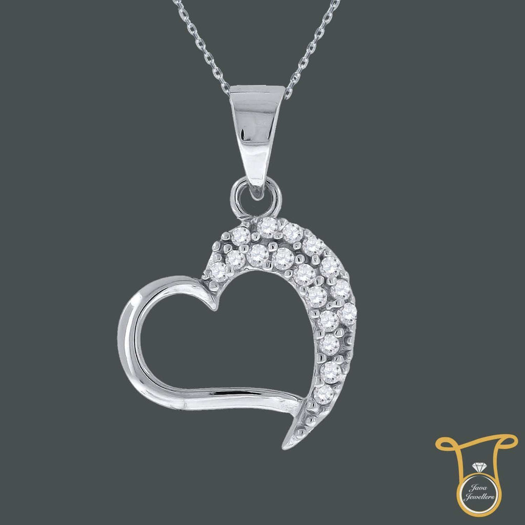 Sterling Silver Round Cubic Zirconia CZ Womens Heart Fashion Pendant