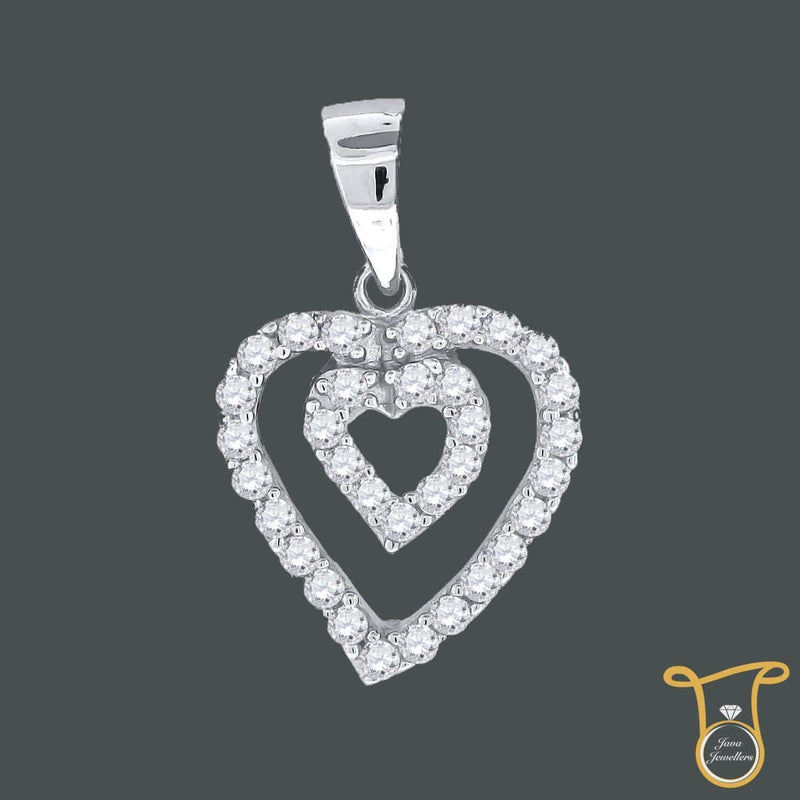 Sterling Silver Round Cubic Zirconia CZ Double Heart Fashion Pendant, Pendants, Silverine, Jawa Jewelers