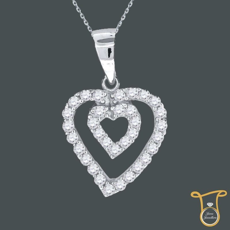 Sterling Silver Round Cubic Zirconia CZ Double Heart Fashion Pendant