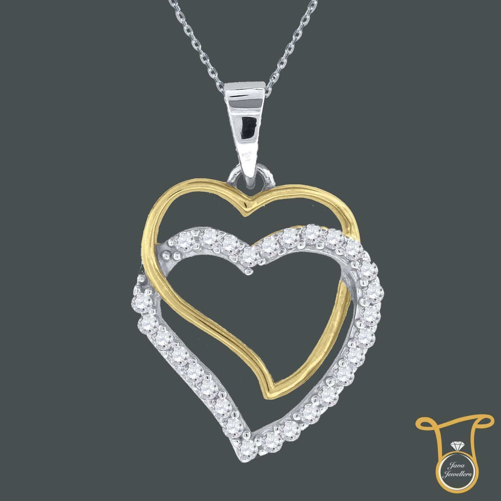 Yellow-tone Sterling Silver Round Cubic Zirconia CZ Double Heart Fashion Pendant