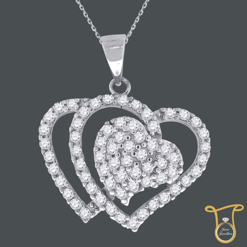 Sterling Silver Round Womens Cubic Zirconia CZ Double Heart Fashion Pendant