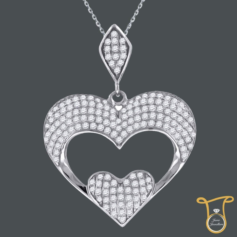 Cubic Zirconia Womens Sterling Silver Round CZ Heart Fashion Pendant