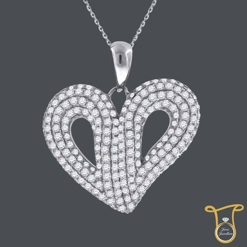 Round Cubic Zirconia Sterling Silver CZ Heart Fashion Pendant