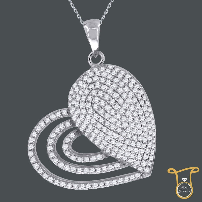 Round Cubic Zirconia CZ Sterling Silver Heart Fashion Pendant