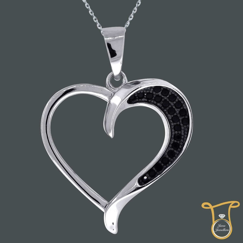 Sterling Silver Round Cubic Zirconia CZ Heart Fashion Pendant
