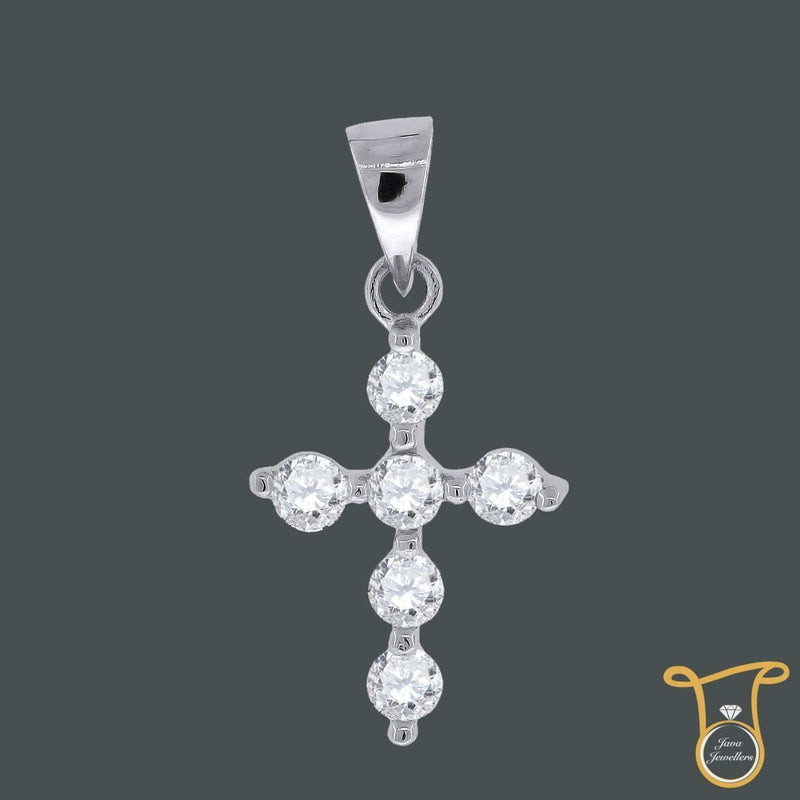Womens Sterling Silver Round Cubic Zirconia CZ Cross Fashion Pendant, Pendants, Silverine, Jawa Jewelers