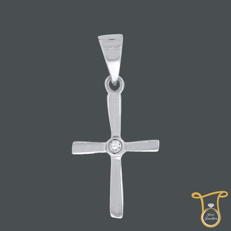 Round Cubic Zirconia CZ Sterling Silver Cross Fashion Pendant, Pendants, Silverine, Jawa Jewelers