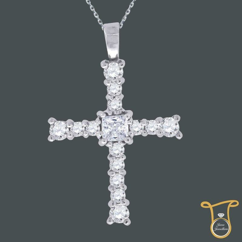 Sterling Silver Round Cubic Zirconia CZ Cross Fashion Pendant, Pendants, Silverine, Jawa Jewelers