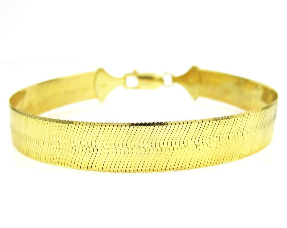 "15MM 10K Yellow Gold Herringbone Bracelet 8"" - 9"" Inches, Bracelets, JJ-AG, Jawa Jewelers"