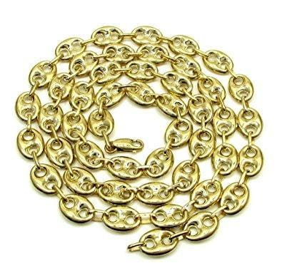 "10K Yellow Gold 19MM Hollow Puff Gucci Chain Necklace 26""-32"" Inch - Jawa Jewelers"