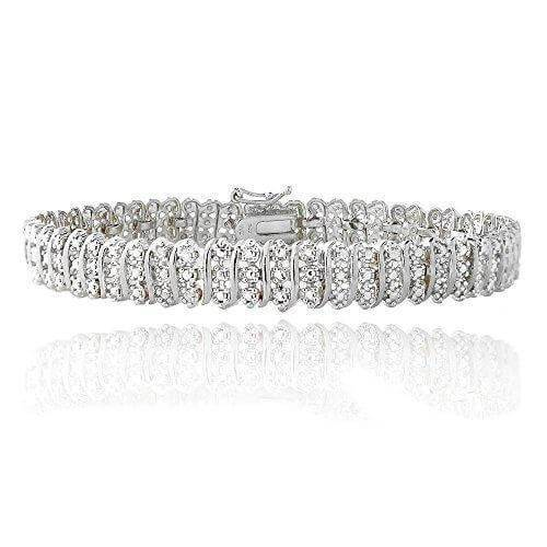 14K White Gold Finish 2.10 CT Diamond Tennis Bracelet 8""
