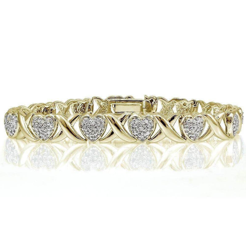 14K Yellow Gold Plated 0.50 CT Diamond Tennis Bracelet