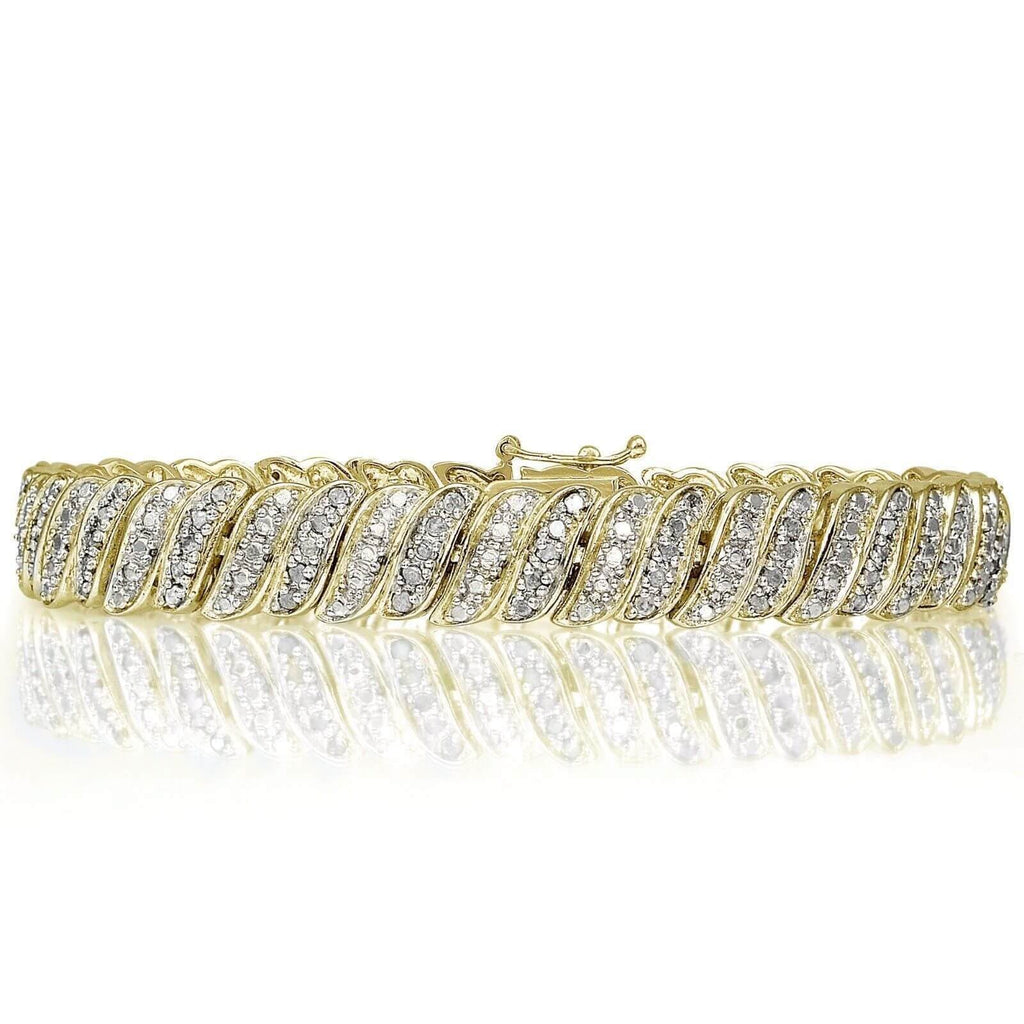 18K Gold Plated Diamond 1.00CT Tennis Bracelet