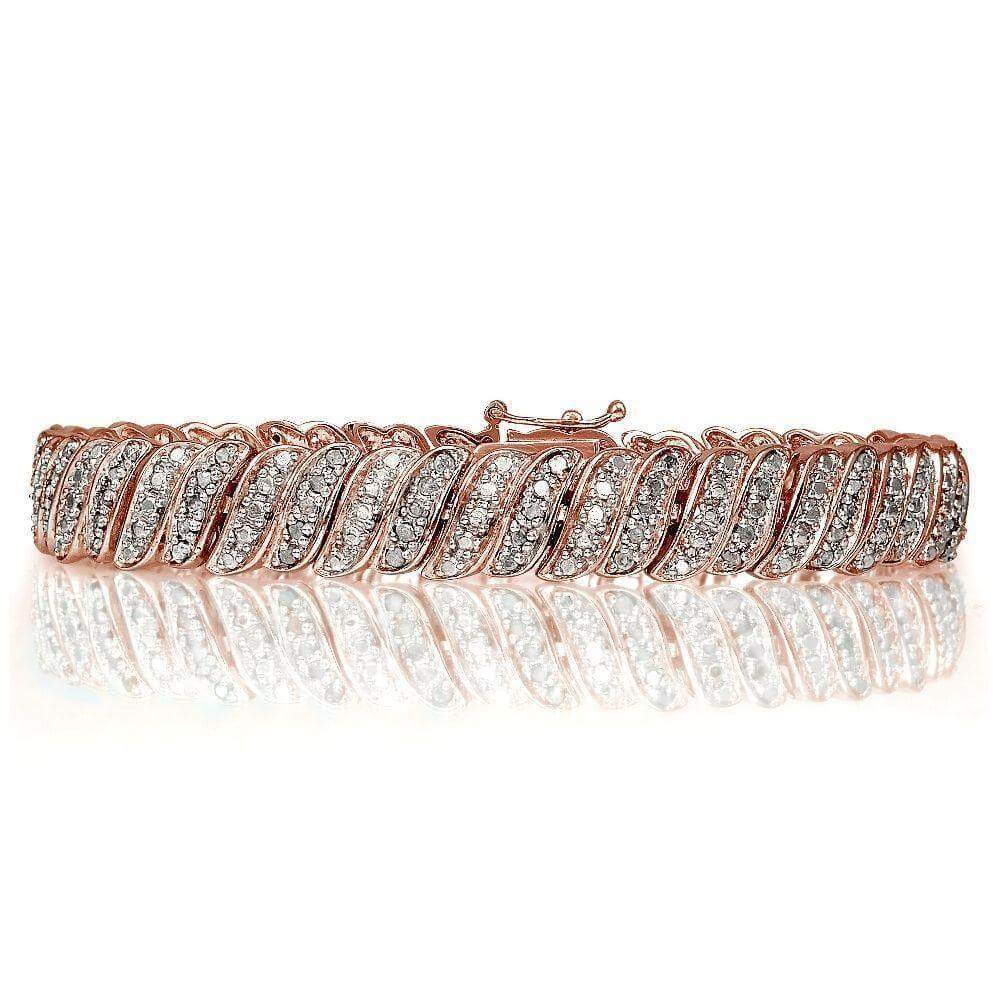 0.25ct Natural Diamond Wave Link Bracelet in Gold Rose or Silver Plated Brass