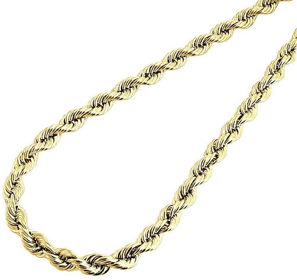10K Yellow Gold Rope Chain 5MM Bracelet 9 Inches