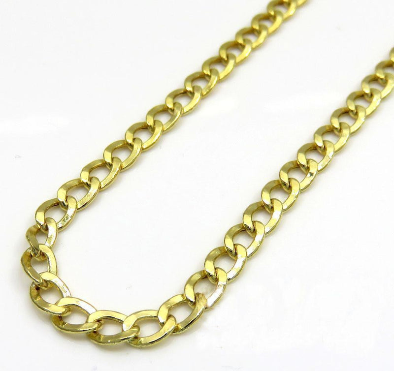 10K 3MM Gold Pave Cuban Chain Necklace