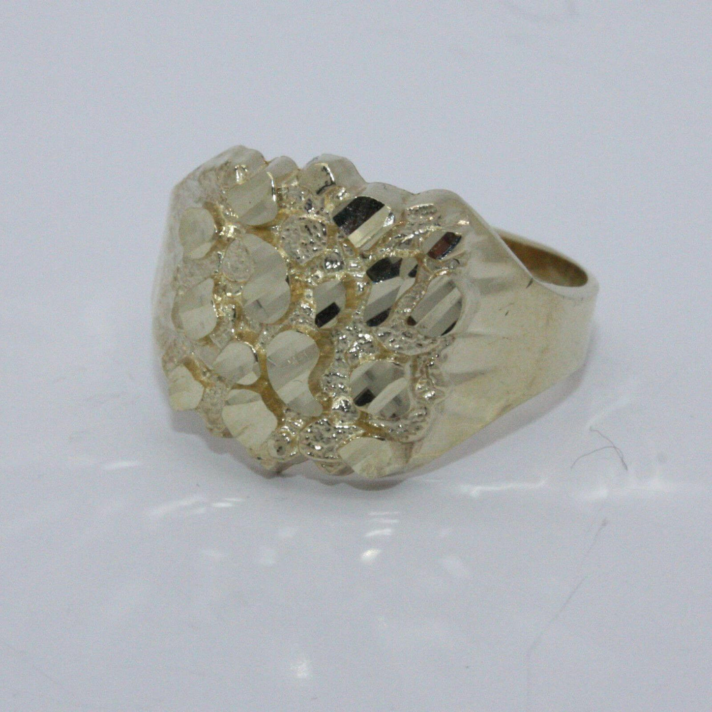 Details about  /NGR10 10K Yellow Gold Nugget Ring Boy Size #6 Band