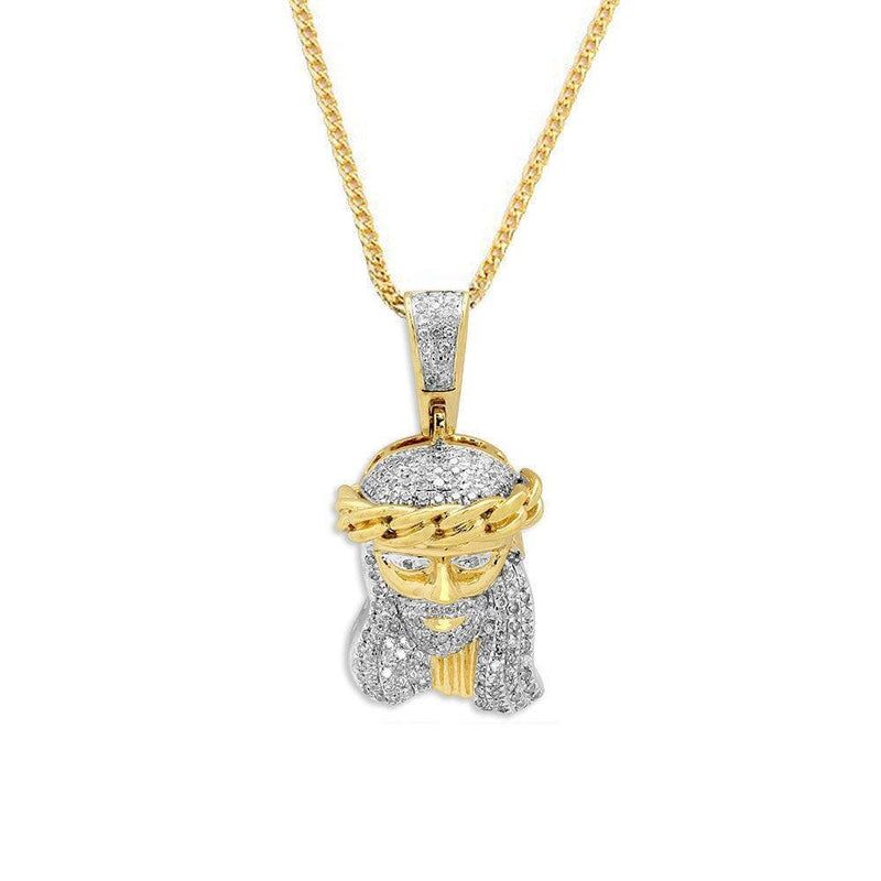10KT Yellow Gold 0.33CTW Diamond Jesus Face Pendant - Jawa Jewelers