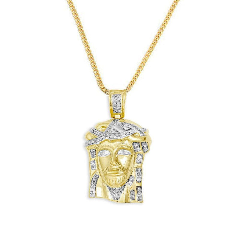 10KT Yellow Gold 0.25ctw Diamond Jesus Pendant - Jawa Jewelers