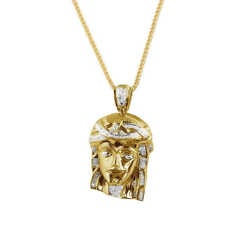 14K Yellow Gold Finish Sterling Silver 0.30ctw Diamond Jesus Pendant, Pendants, JJ-AG, Jawa Jewelers