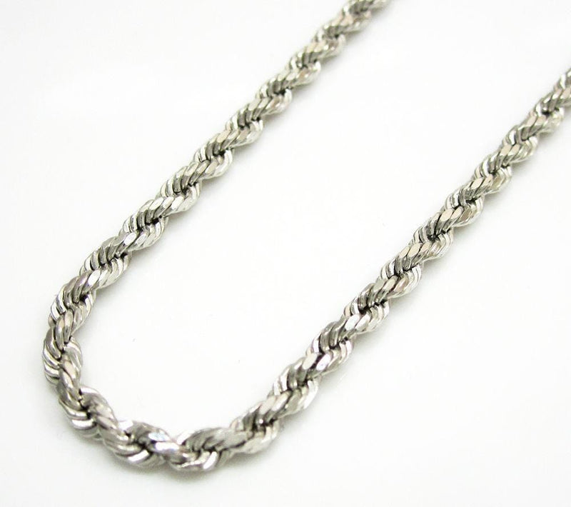 14k White Gold 1mm Diamond Cut Rope Chain Bracelet 7 - 9 Inches
