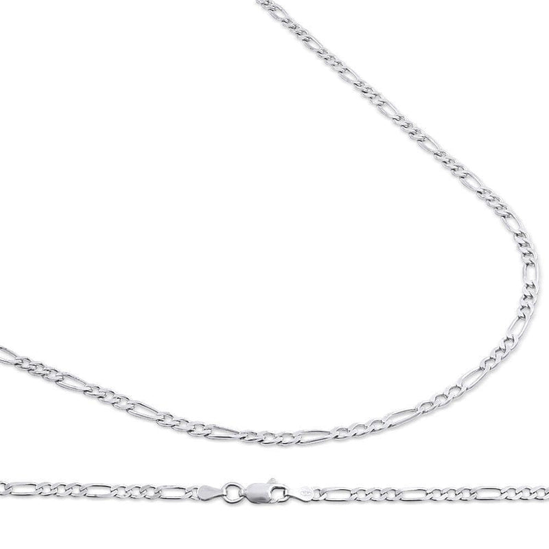 3MM 925 Sterling Silver Figaro Link Chain Necklace, , Jawa Jewelers, Jawa Jewelers
