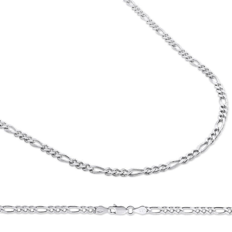 4MM 925 Sterling Silver Figaro Link Chain Necklace, , Jawa Jewelers, Jawa Jewelers