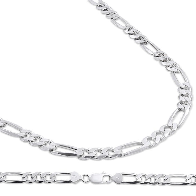 7.5MM 925 Sterling Silver Figaro Link Chain Necklace, , Jawa Jewelers, Jawa Jewelers