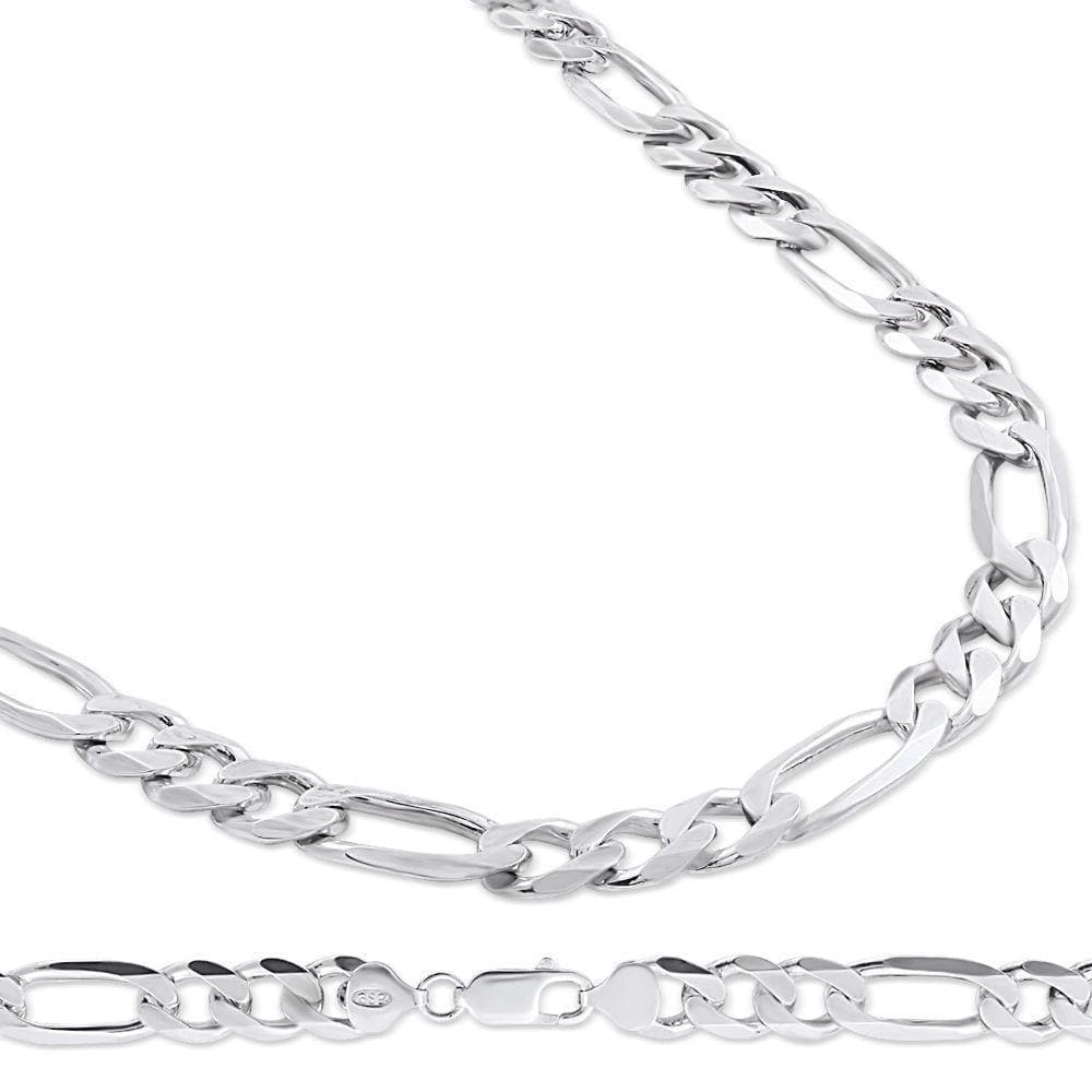 9.5MM 925 Sterling Silver Figaro Link Chain Necklace, , Jawa Jewelers, Jawa Jewelers