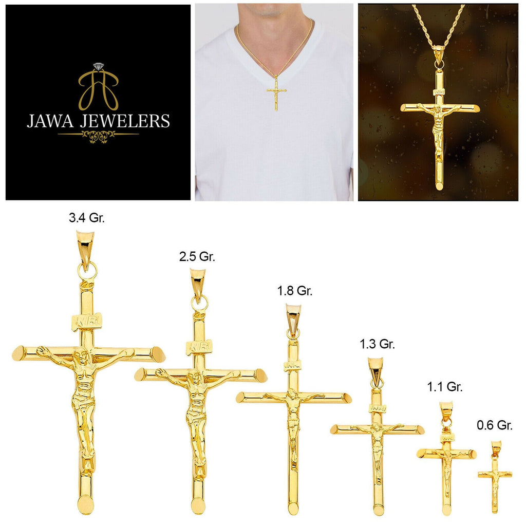 14k Real Yellow Gold Solid Jesus Crucifix Religious Cross Pendant