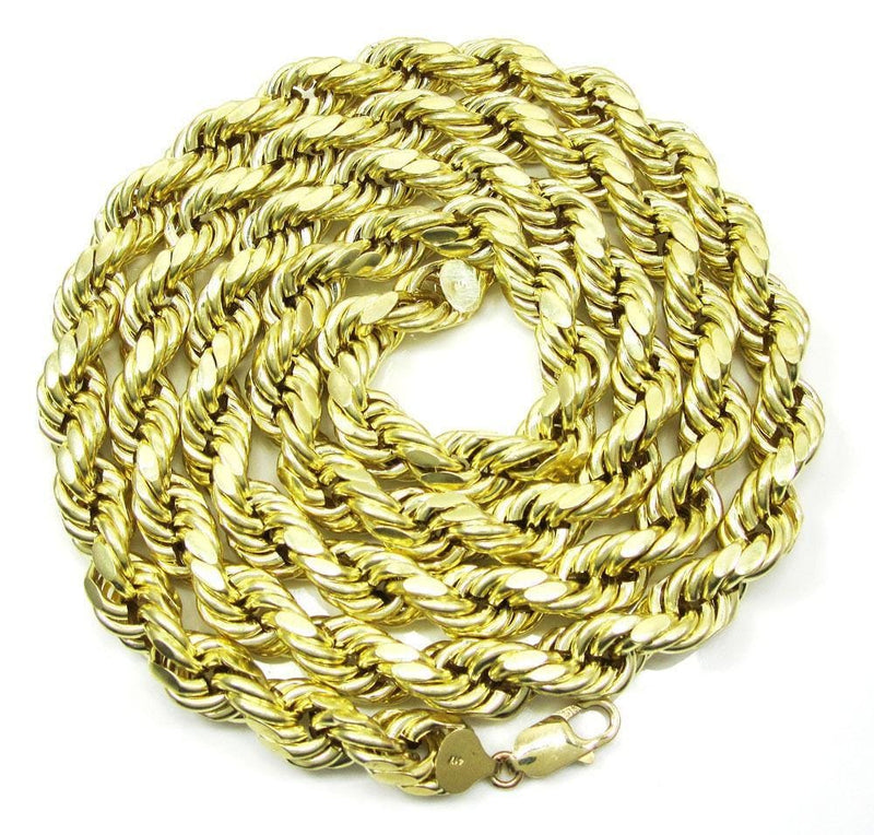 10K Yellow Gold 5MM Solid Rope Chain Diamond Cut Necklace
