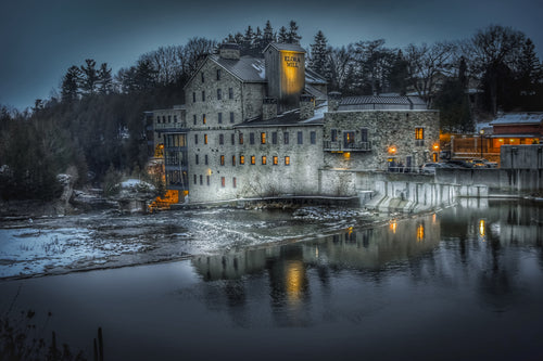 Elora Mill at night