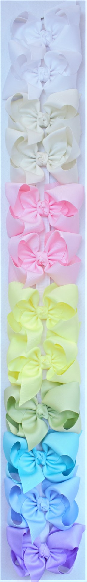 "Set of 12 Bows 2.25"" GROS., 5.5'' XL BOW W/ KNOT ON ALLIGATOR CLIP--PASTELS"