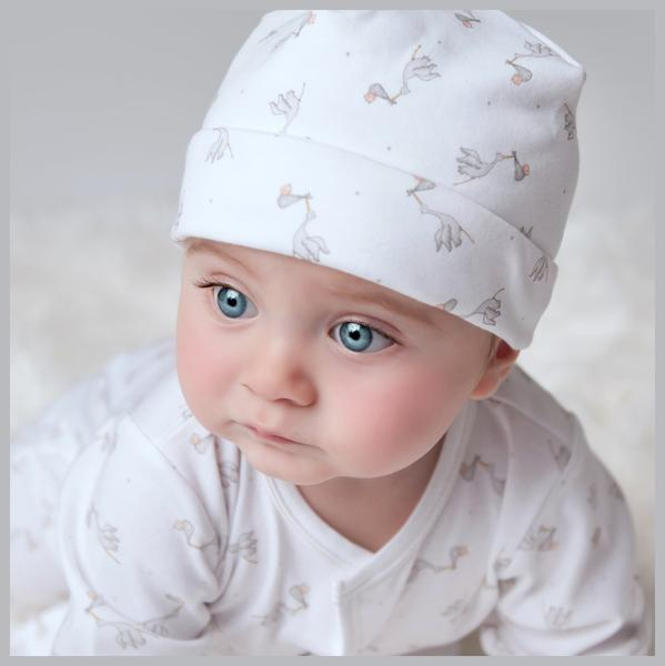 Magnolia Baby Worth The Wait white hat (unisex) grey storks