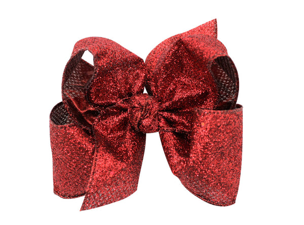Beyond Creations 5.5'' XL BOW W/ KNOT ON ALLIGATOR CLIP glitter bling