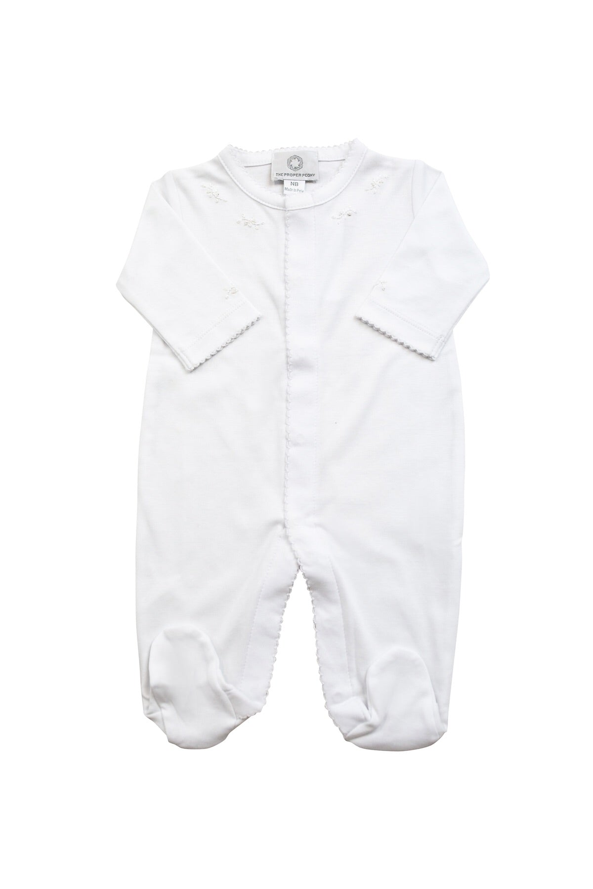 The Proper Peony Pima cotton white with white footie