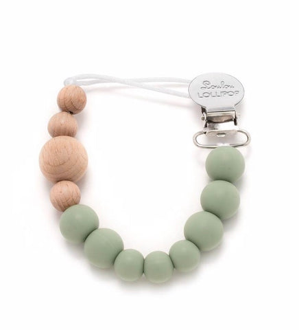 Lou Lou lollipop pacifier clip sage green