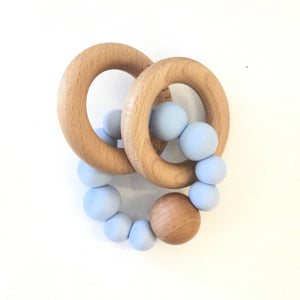 Lou Lou lollipop silicone wood teether baby blue