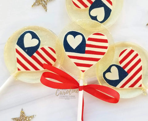 USA Flag Heart Lollipop, Blueberry