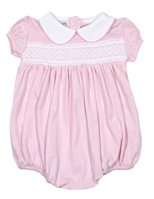 Magnolia baby Delanie & Dillon's classics smocked collared pink bubble