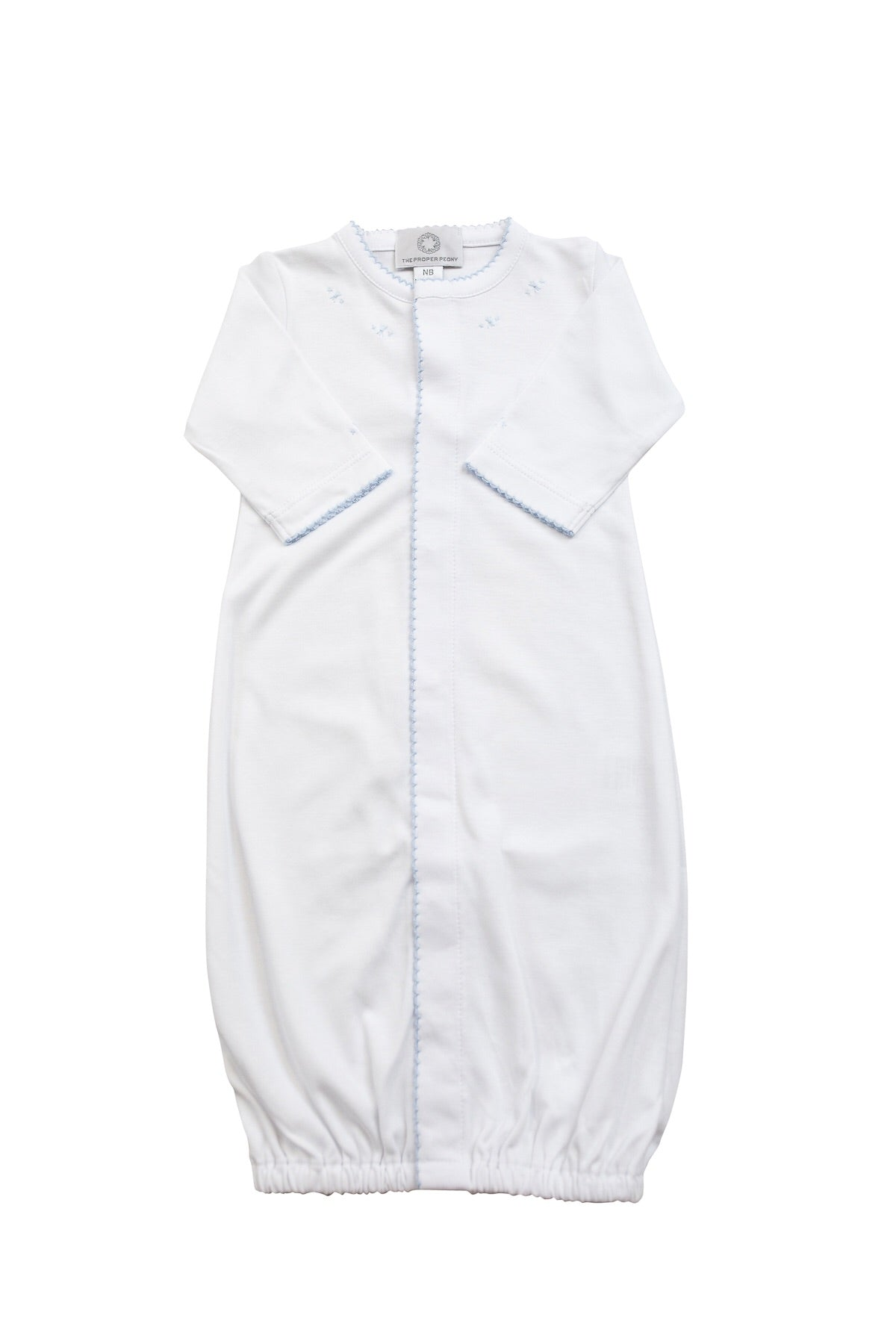 The Proper Peony Pima cotton white with blue converter gown