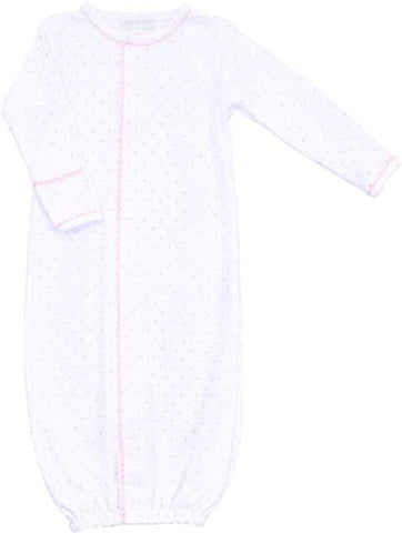 Magnolia Baby crotchet collection converter gown white with pink dots