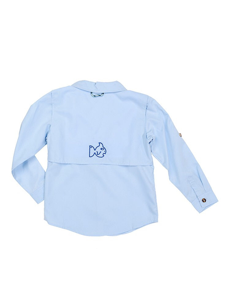 Prodoh Kids Sun Protective classic fishing Shirt Light Sky blue