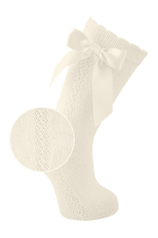 Carlomagno Fine Openwork Knee high Scottish Yarn Socks with bow natural ivory